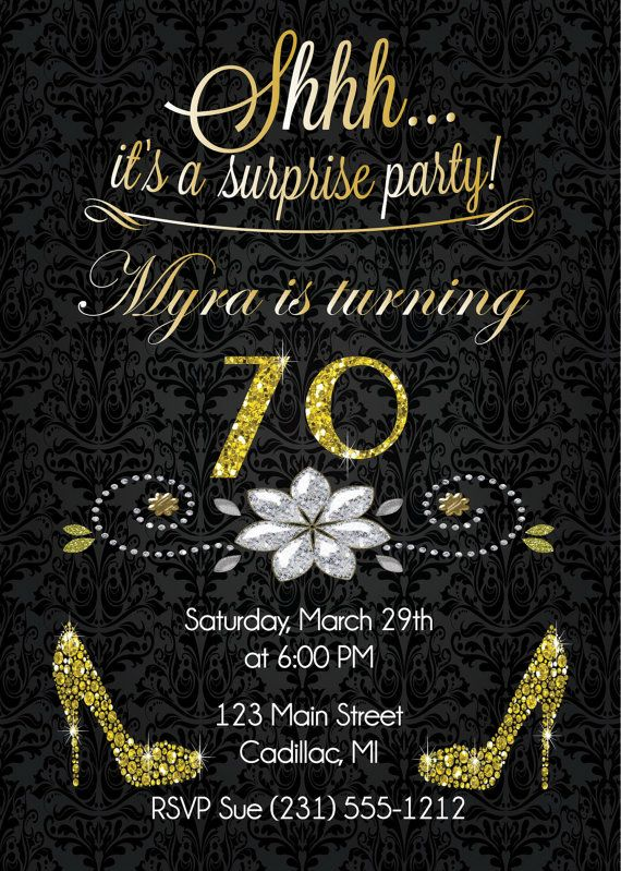 70th Birthday Invitation - Gold Glitter Birthday Party Invite - Surprise Birthday Invitation for Adult