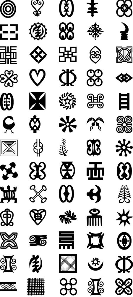 Adinkra Symbols from West Africa (go to http://www.adinkra.org/htmls/adinkra_index.htm to see the meaning of each symbol)