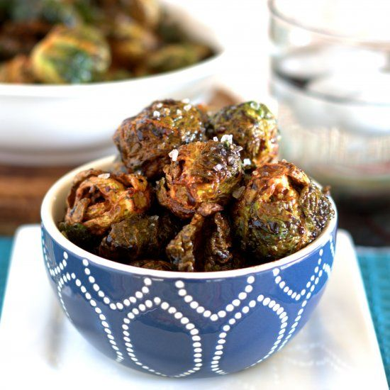 Flash fried Brussels sprouts with balsamic drizzle.