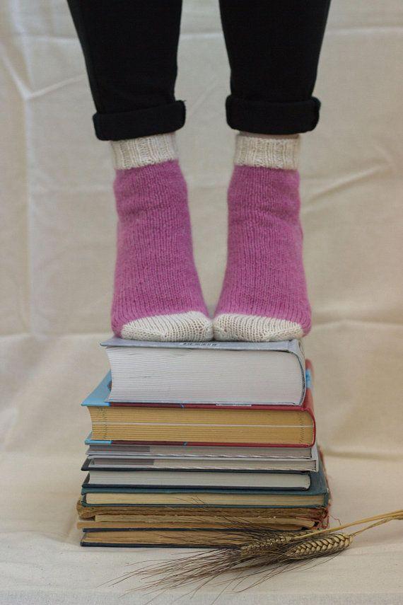 Alpaca knit socks Hand knit socks Alpaca merino wool socks Rose lilac socks Pink socks Short knit socks Gift idea Boot/ home socks Slippers