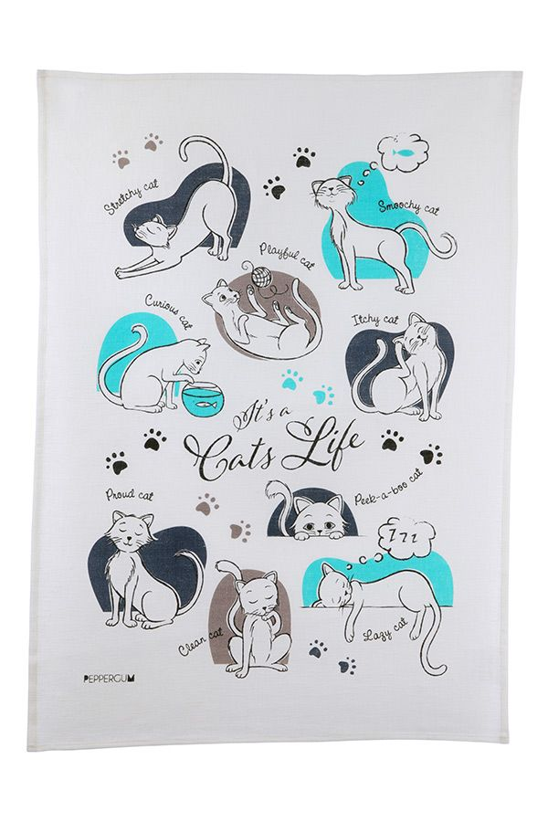 Our latest tea towel design celebrating the life of the pampered cat. Free shipping at peppergum.com.au