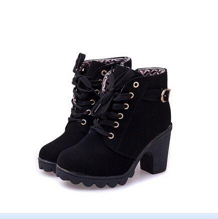 platform high heel single shoes vintage Women Motorcycle Boots Martin Boots,