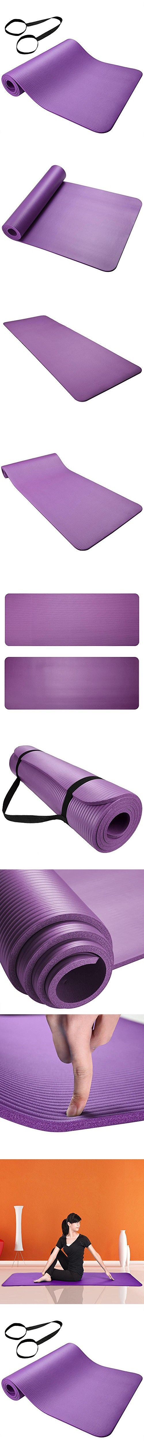 "AW Yoga Purple Exercise Mat 0.31""/8mm Thick NBR Anti-Slip w/ Carrying Strap Sport Comfort Foam"