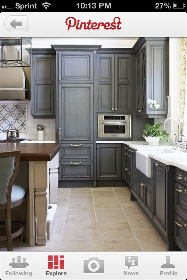 17 best images about grey cabinets on pinterest grey for Slate kitchen floors with white cabinets