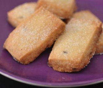 James Beard Lavender Shortbread--add lemon sugar sprinkle after baking, lavender extract.