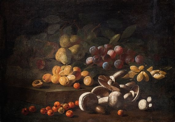 Artwork by Tuscan School, 17th Century, Two still lifes, en pendant: Mushrooms,purple and yellow plums, pears, apricots with figs on a stone floor en plein air; Peaches, grapes, melons, apples, pomegranate en plein air, with pears above a metal foam, Made of oil on canvas