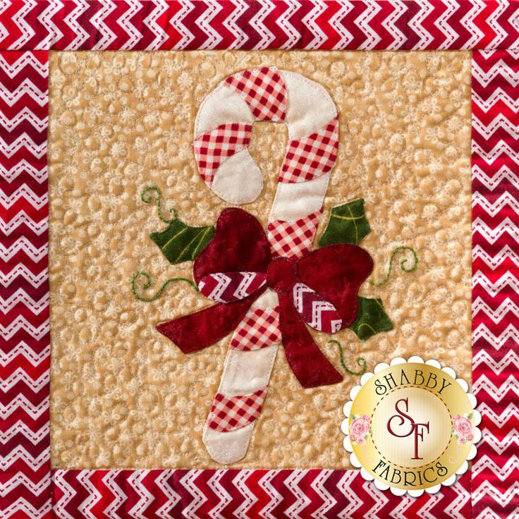 "Our 36"" inch square Christmas wall hanging is full of sweetness, like this candy cane block! See the full quilt here: https://www.shabbyfabrics.com/-Christmas-Keepsakes-BOM-Pre-fusedLaser-P30953.aspx xox"