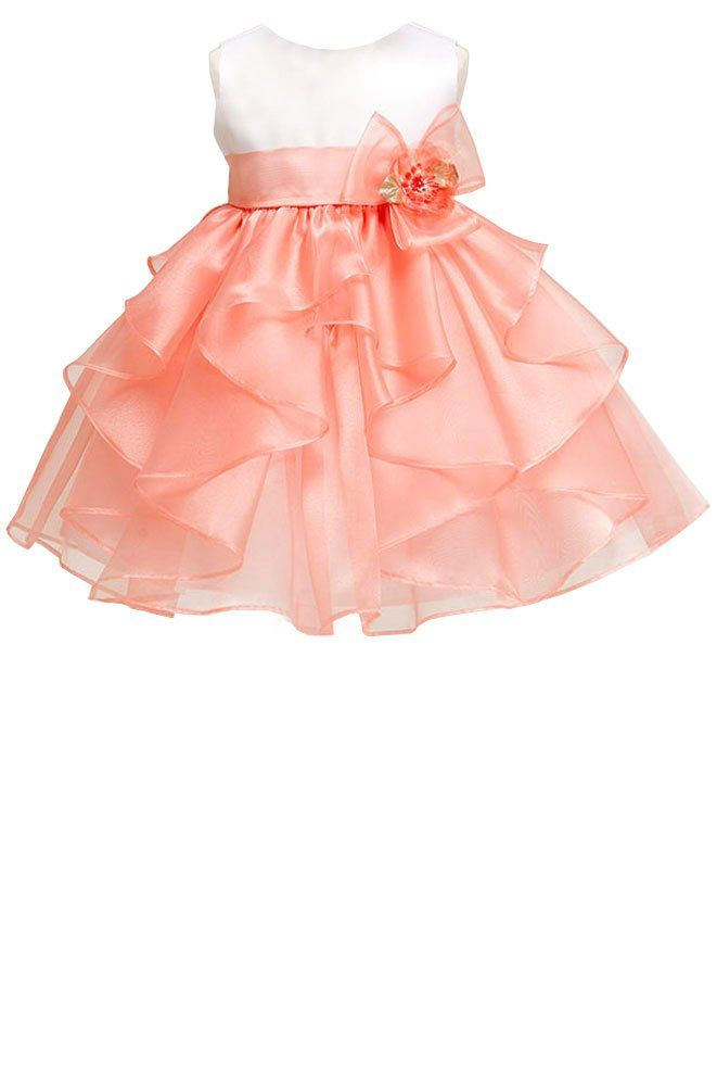 Such a sweet dress for a baby girl! ~ White satin bodice with coral cascading organza skirt (baby girls sz.0-24m) ~ flower girl, birthday, #Easter ~ Made in USA ~ Color Me Happy Boutique