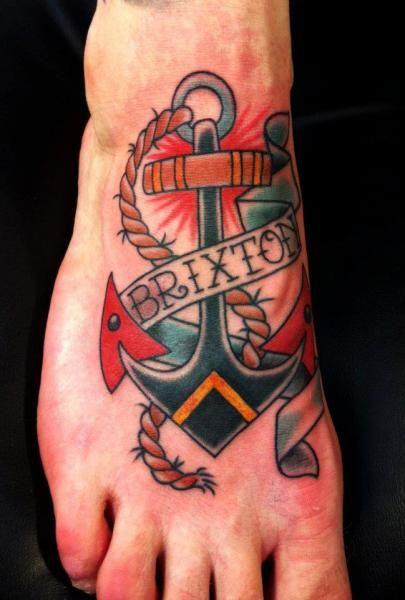 nautical foot tattoo with name