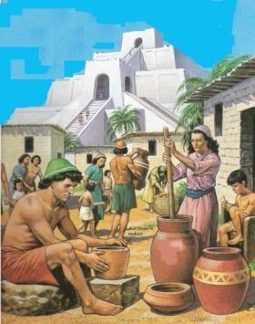 Het ontstaan van de eerste stedelijke gemeenschappen ----> Ieder jaar traden de Eufraat en de Tigris buiten hun oevers door het vele smeltwater wat ze meevoerden vanuit de bergen. Het vruchtbare slib dat achterbleef maakte de oevers uitstekend geschikt voor landbouw. De boeren gingen op den duur meer produceren dan ze nodig hadden. Door de toename van de landbouwproductie konden ook steeds meer mensen in een klein gebied wonen. Sommige dorpen groeiden uit tot steden