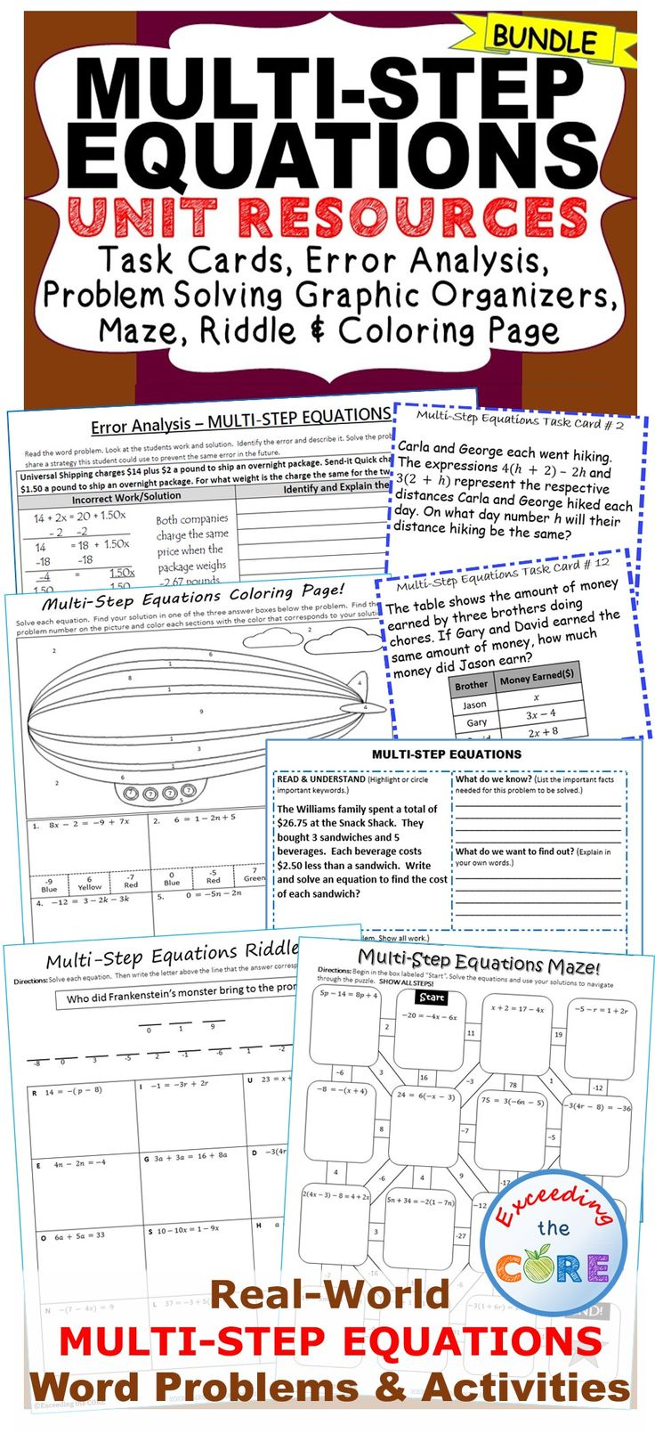 MULTI-STEP EQUATIONS BUNDLE - Task Cards [ 1619 x 736 Pixel ]