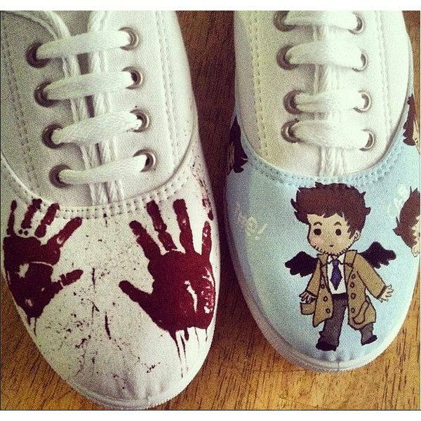 Supernatural Custom Canvas Shoes ($35) ❤ liked on Polyvore featuring shoes, supernatural, canvas shoes and canvas footwear