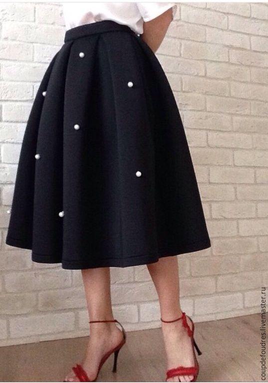 Купить Юбка из тонкого неопрена на хлопке - фуксия, однотонный, юбка, юбка длинная, юбка летняя