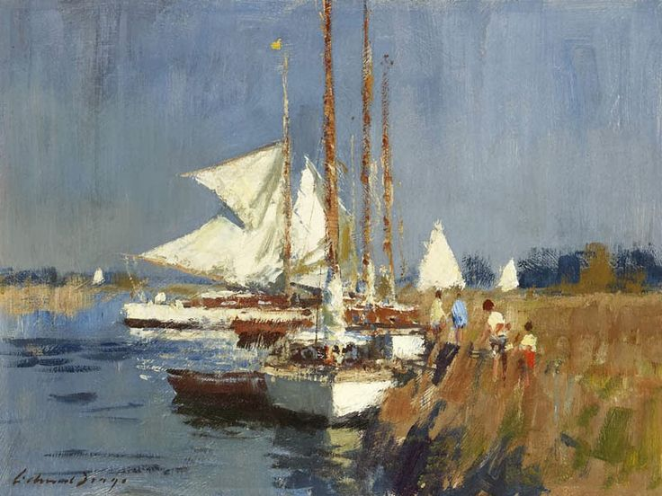 edward seago books | edward seago yachts on the river ant oil on board 12 x 16 in edward ...