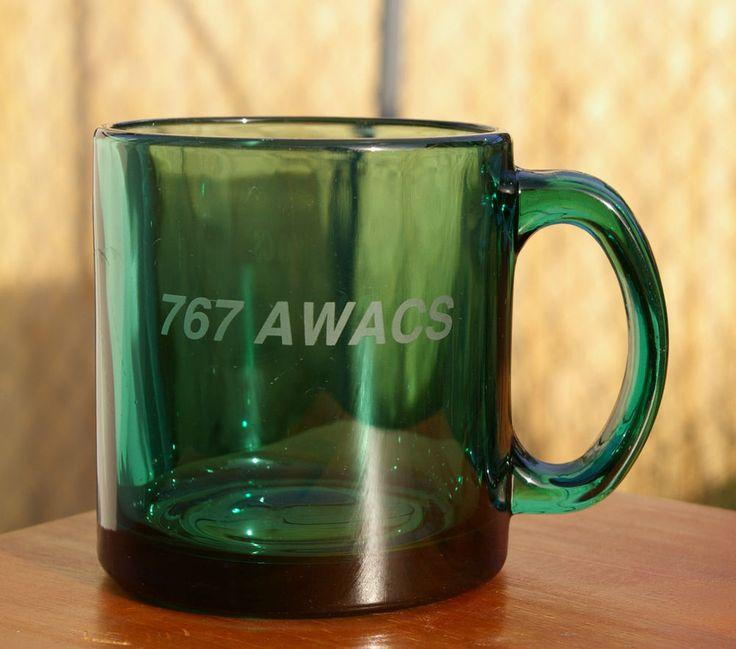 Green Drinking Glass Mug Boeing 767 AWACS Airborne Warning & Control System  | eBay