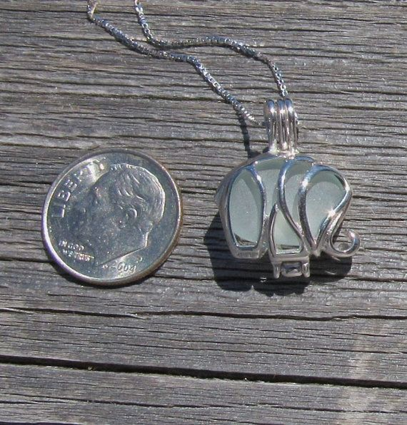 Sterling Silver Sea Glass Save the Elephants by WaveofLife