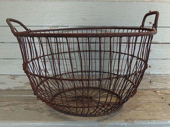 Vintage Wire Storage Basket With Handles