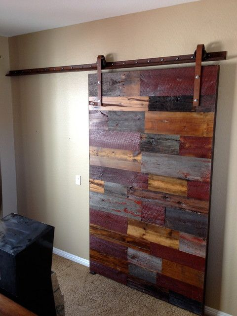 Sliding Barn Door   Mixed Reclaimed Woods   Contemporary   Interior Doors    Phoenix   By Porter Barn Wood LLC