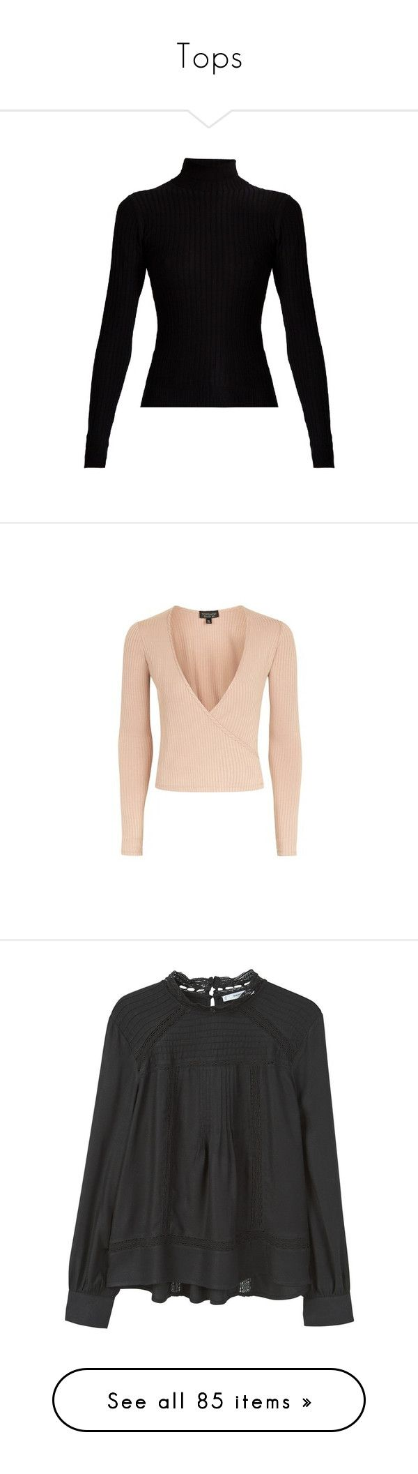 """Tops"" by juliietteprt ❤ liked on Polyvore featuring tops, sweaters, black, roll neck top, long sleeve stretch top, roll neck sweater, ribbed knit sweater, ribbed knit top, coral and wrap style top"
