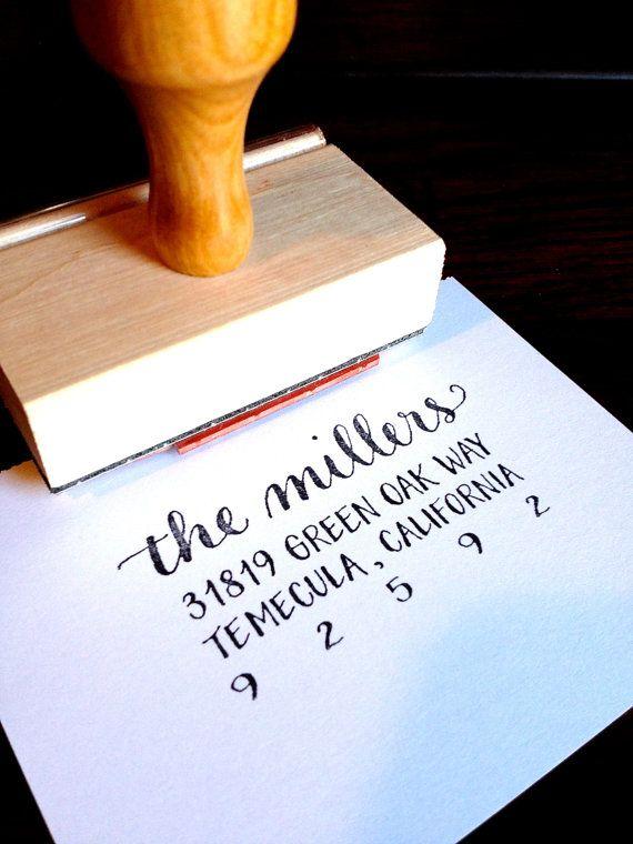 CALLIGRAPHY ADDRESS STAMP Return Address by LetterBeOnEtsy