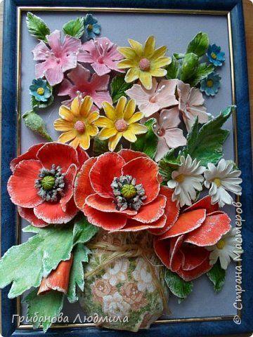 Картина панно рисунок Лепка Проживи в любви этот день Гуашь Клей Тесто соленое фото 1