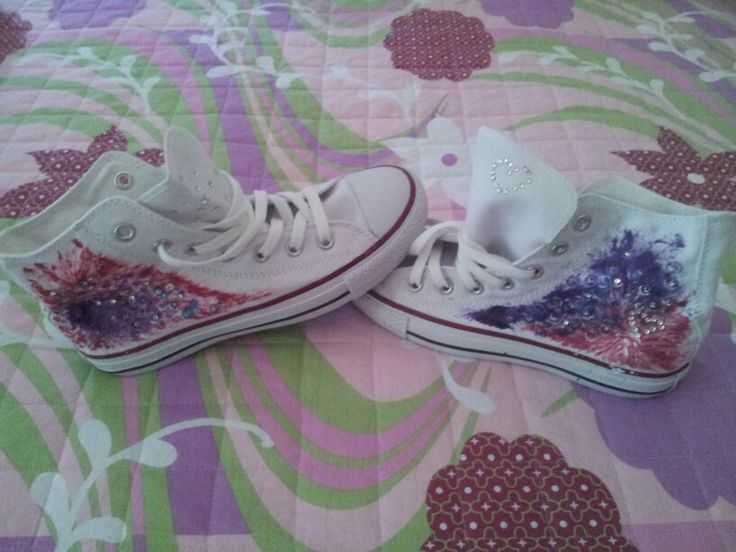 Handpainted All Star with Swarovski crystals decorations by www.skeno.it