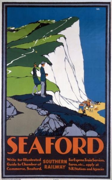 Seaford, England. Southern Railway Travel Poster -  Olive oil cosmetics from the italian riviera on www.varaldocosmetica.it/en