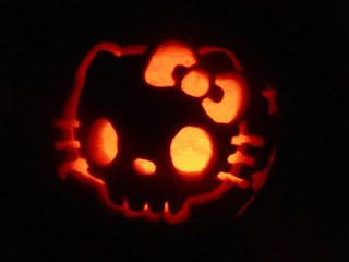 Hello Kitty skull face carved jack o'lantern pumpkin