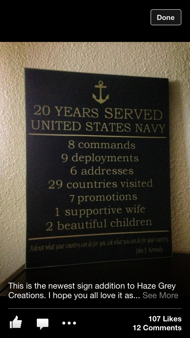 Military retirement sign. I love this! Such a beautiful way to sum up a career :) I better start keeping a tally of all these things lol.