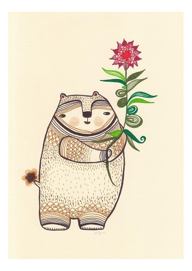 bear-like thing with a very nice flowering plant - 8x10 print. $20.00, via Etsy. #FlowerShop #anthropologie