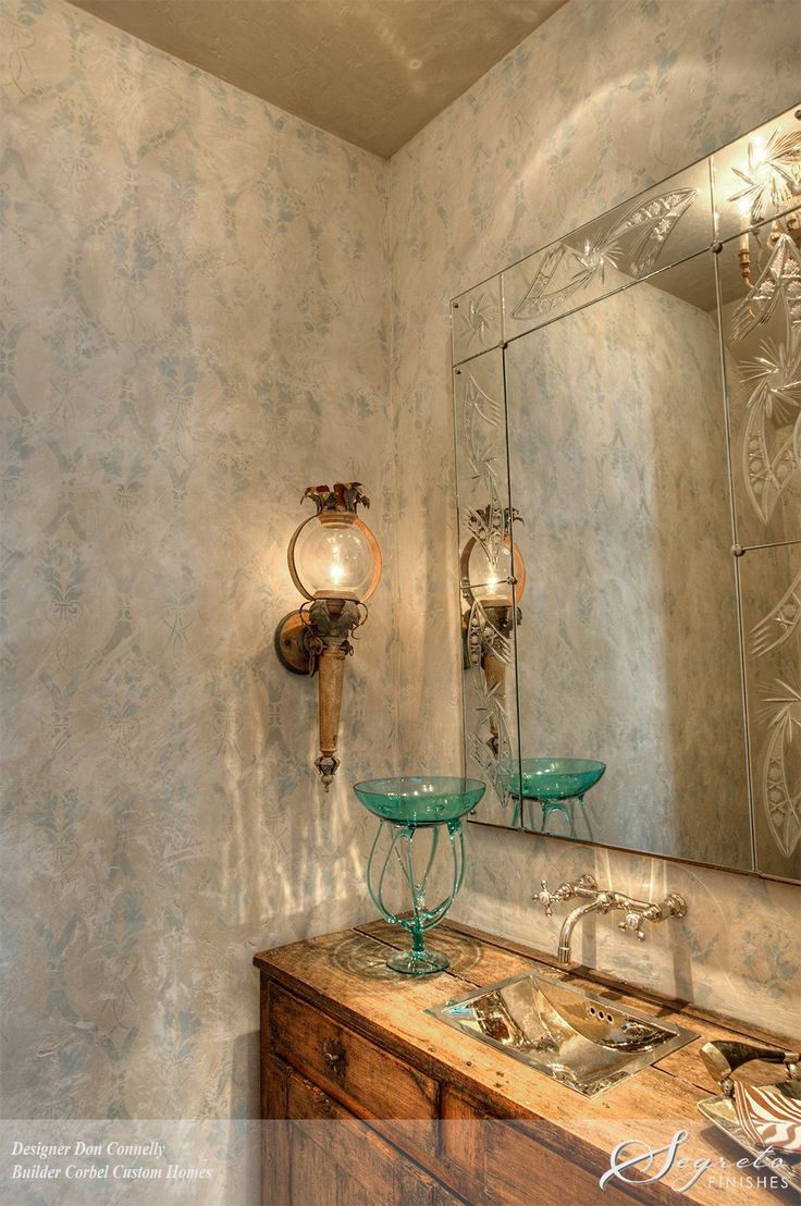 85 best segreto style images on pinterest dream rooms home and to develop an old world rubbed back look with lots of intrigue a textured plaster serves as the base for a pale gray blue and green stenciled pattern