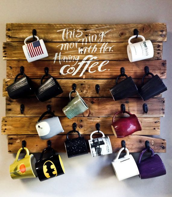 Rustic coffee mug display made from reclaimed pallet wood board. Johnny Cash quote This morning with her having coffee makes this the perfect