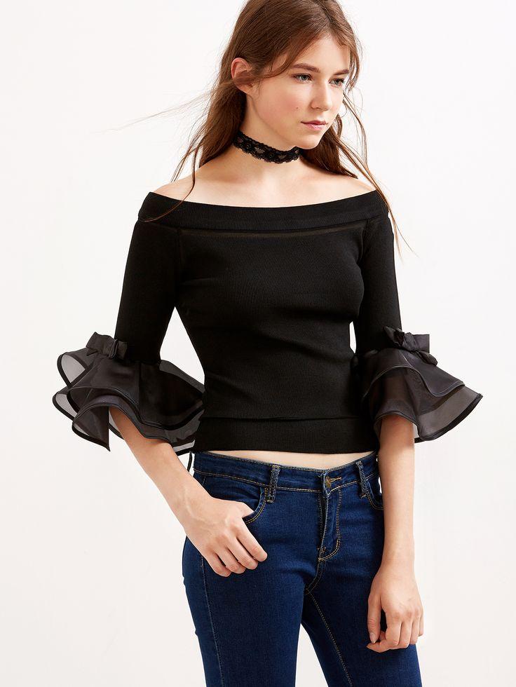 Camiseta con cuello barco y manga de volantes con malla - negro-Spanish…