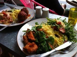 Yummy salads and kofta balls at Cardamon Pod Broadbeach