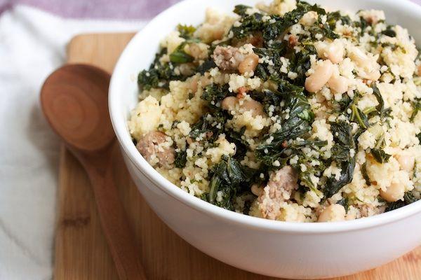 Cous Cous with Sausage, White Beans & Kale #sensationalsides