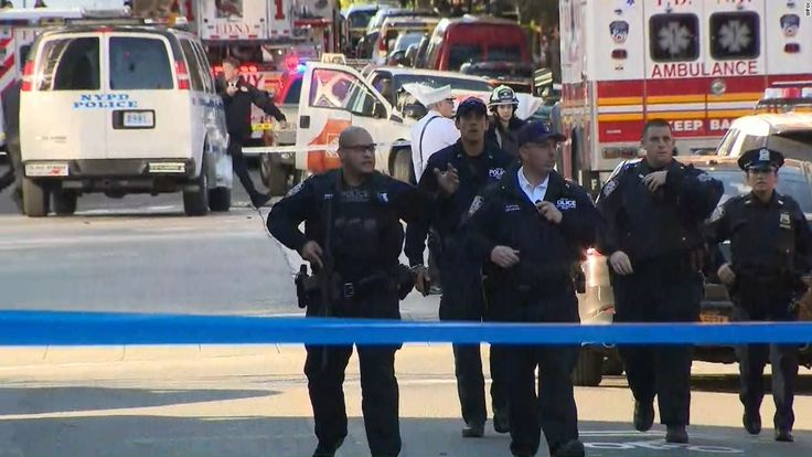 """The driver of a rental truck drove down a busy bicycle path in New York near the World Trade Center, killing eight people and injuring about a dozen others in what officials said was an """"act of terror."""""""