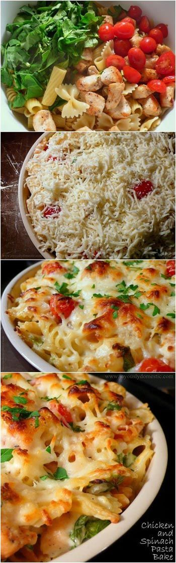 Chicken Spinach Pasta Bake: 8oz rigatoni, 1T evoo, 1C onion, 1pk frozen chopped spinach, 3C cooked chicken, 1 can Italian diced tomatoes, 1 container chive & onion cream cheese, 1/2t salt, 1/2t pepper, 1 1/2C shredded mozzarella