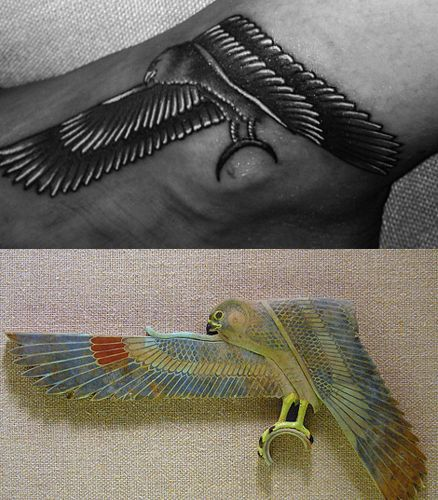 ❓❓The tattoo appears to be inspired by this Egyptian falcon found at the Metropolitan Museum of Art in New York City. In Ancient Egyptian mythology, the falcon was associated with the solar god Horus. As you might know, the symbol of All-Seeing Eye derives from the Ancient Egyptian symbol of the Eye of Horus. In short, Rihanna's checkerboard dress and the emphasis on her Horus tattoo makes the above picture all about Masonic symbolism.