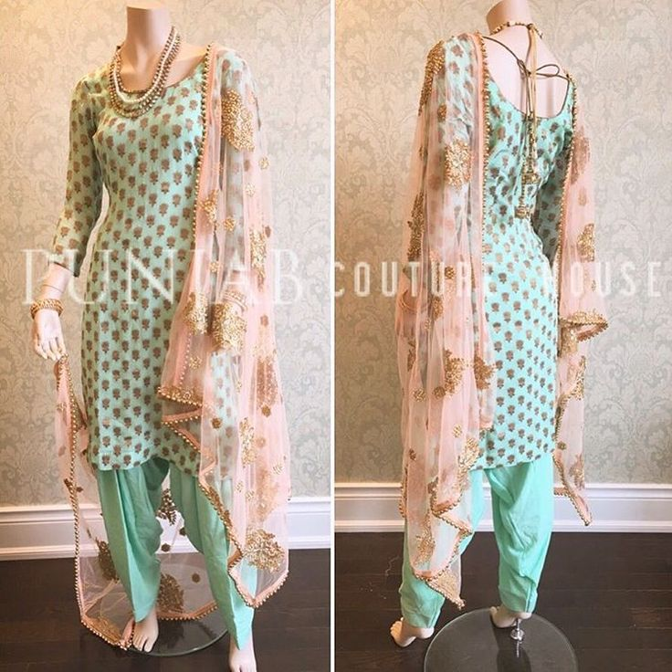 A perfect palette for Spring! Full Look!  Here we have a premium banarsi Georgette, custom dyed in a fresh sea-green shade- paired with a blush pink pre-embroidered duppata.