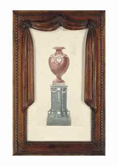 Projet pour une urne en marbre rouge, la panse appliquée d'un aigle Impérial bicéphale, reposant sur une base cannelée appliquée de plaques d'argent