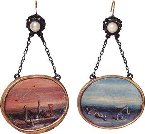 YvesTanguy~Earrings for Peggy Guggenheim, ca. 1938  Silver, gold, pearls and oil on shell   (paint on shell in gold and silver mounts)