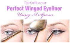 Winged Eyeliner Spoon Trick - Create the perfect winged liner using a spoon!