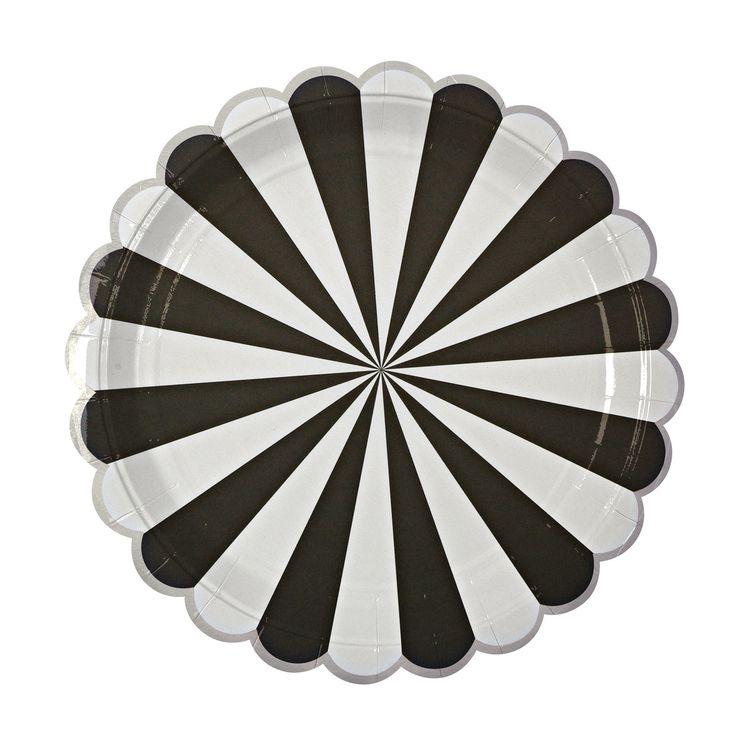 "Plates   Meri Meri   Toot Sweet   Black & White Stripe Large Plates 9""   Paper Plates   Party Plates   Party Supplies   The Party Darling by ThePartyDarlingLLC on Etsy"