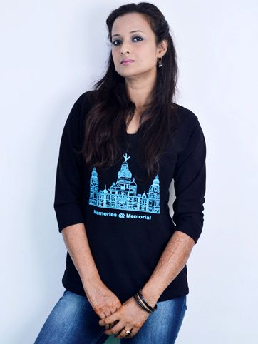 Buy tshirts online at 399 ..Agnimitra paul collections .to buy http://www.365oranges.com/AgnimitraPaul/Product/8493/black-t-shirt-with-skyblue-victoria-memorial-theme
