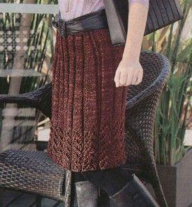 вязаная юбка миди спицами в широкую резинку из акрила