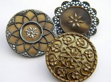 3 Antique Vintage metal buttons victorian old brass celluloid wafer