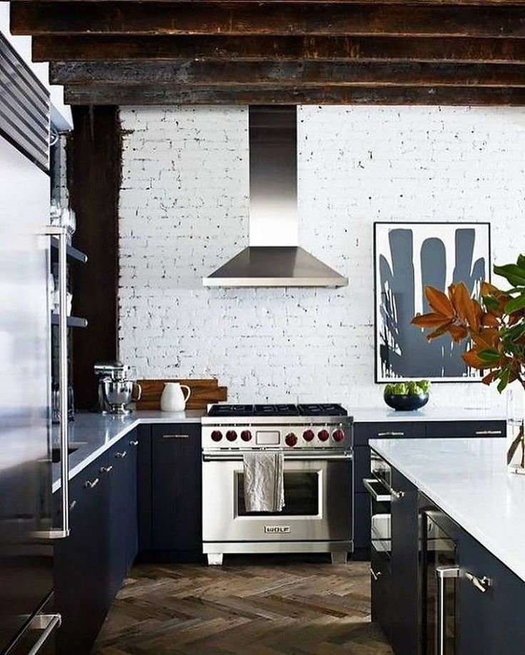 Painted brick isn't just for exteriors - get a load of this kitchen. I'm completely obsessed. :heart_eyes: We'll be sharing more of our trend predictions on the blog all week! Design:@jennywolfinteriors :camera::@francescolagnese