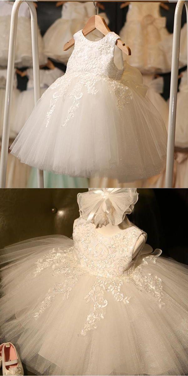 Ivory Round Neck Lace Tulle Flower Girl Dresses, Zip up Cute Little Girl Dresses, FG043
