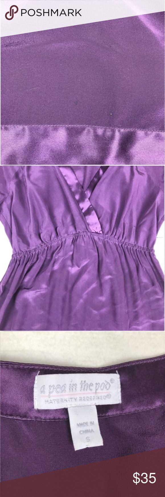 A Pea In The Pod 100% Silk Purple Maternity Dress Has a small mark on the bottom front Photos may alter accurate coloring of shirt See pictures above for details  Measurements (taken with dress laying flat) Armpit to armpit: 17' Length: 32.5'  *smoke free home* A Pea in the Pod Dresses