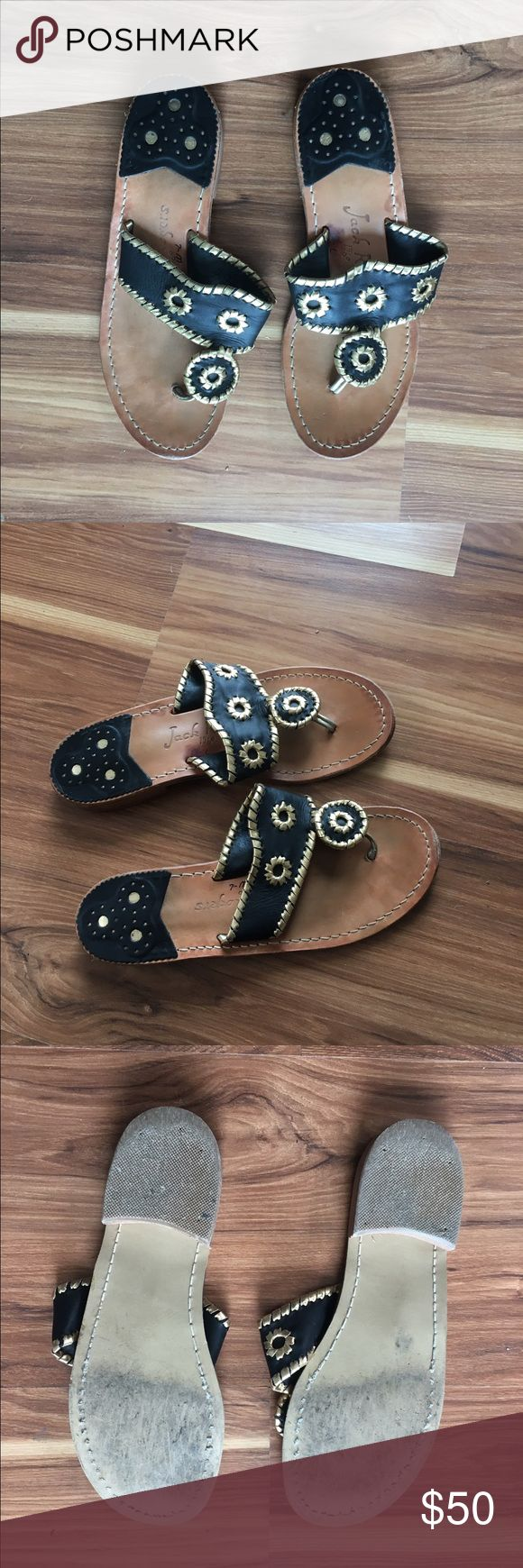 Size 7 black/gold Jack Rogers sandal Black and gold Whipstiched thing flip flop. Only worn twice, great condition! Jack Rogers Shoes Sandals